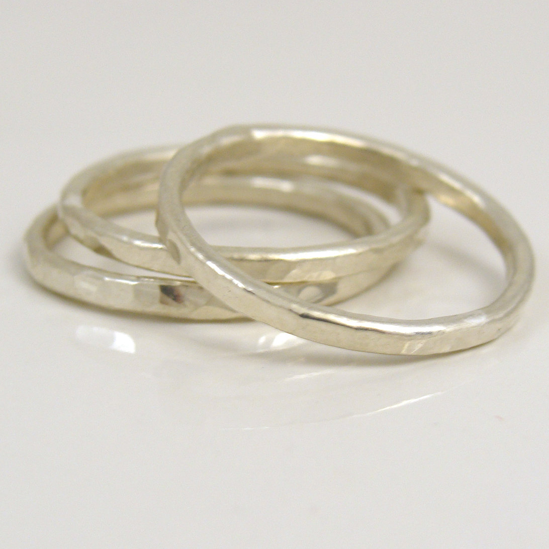 3 fine silver stacking rings