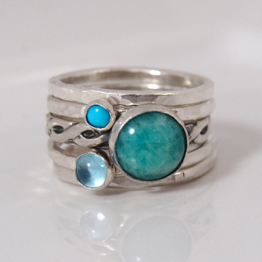 Set of amazonite turquoise stacking rings