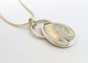 Snow white druzy and sterling silver pendant