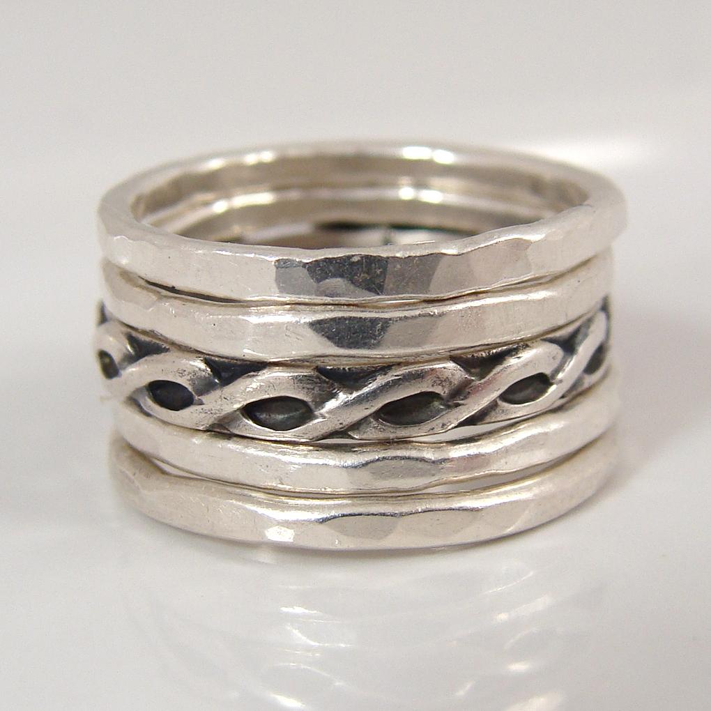 Back view of gemstone stacking ring set