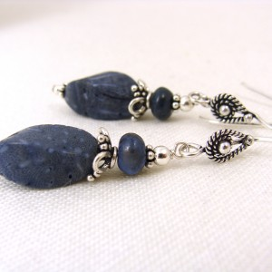 denim blue sterling silver earrings