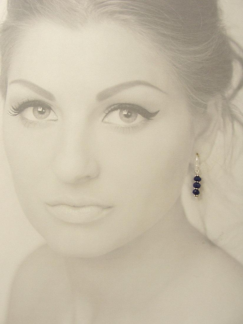 Blue chalcedony earrings on paper model