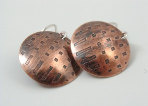 Etched copper earrings