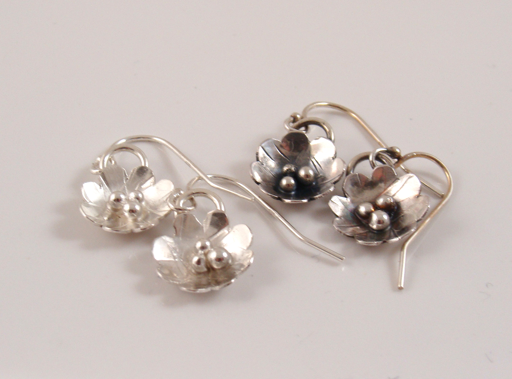 Sterling flower earrings in shiny or antiqued finish