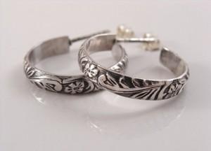 Sterling silver patterned hoops
