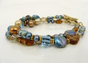Caramel and montana blue bracelet