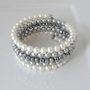 White and grey pearl and crystal memory wire bracelet