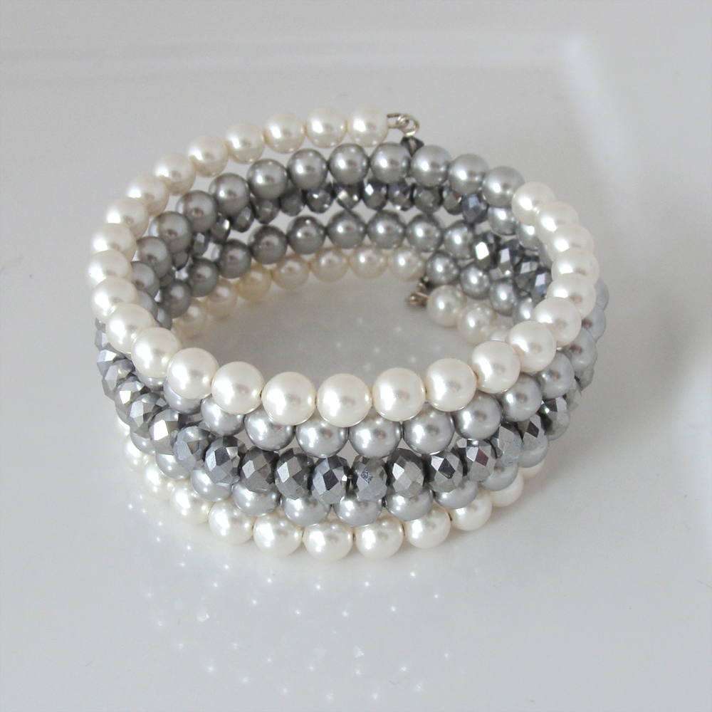 Silver and white pearl and crystal bracelet - Jewelry Creations by ...