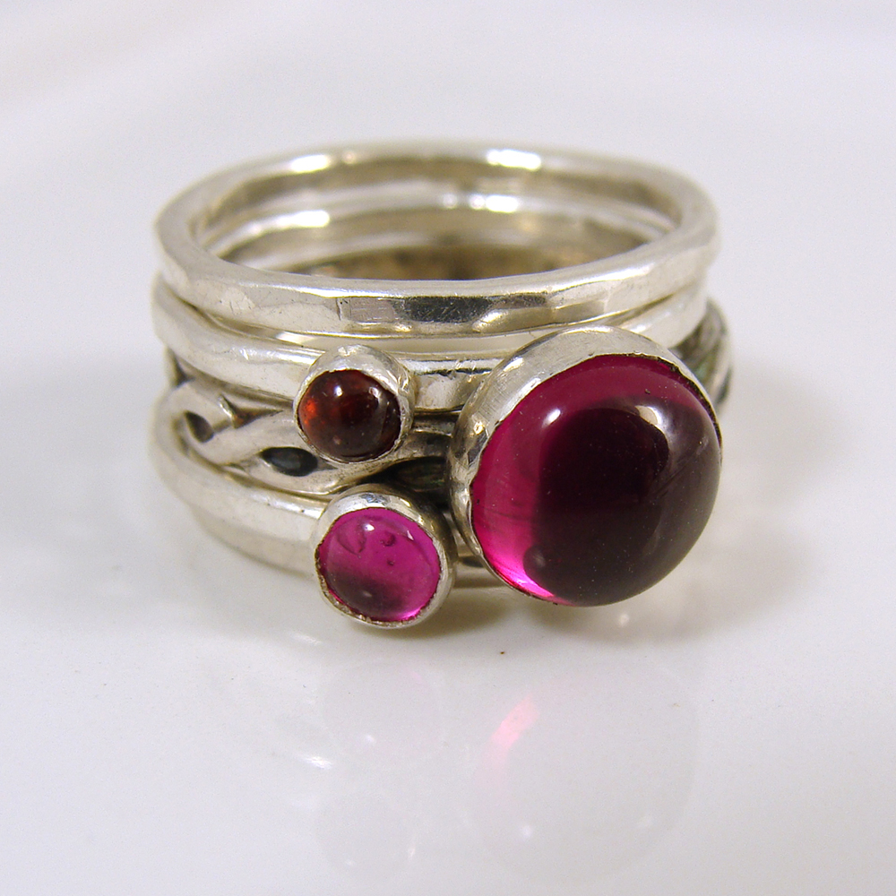 Ruby and garnet stacking ring set