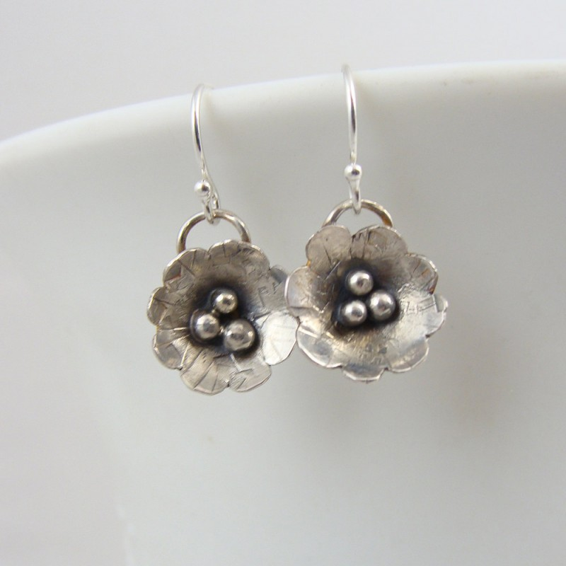 Sterling silver forged flowers