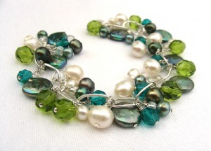 Turquoise and olive cluster bracelet