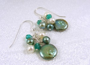 Turquoise and olive coin pearl cluster earrings
