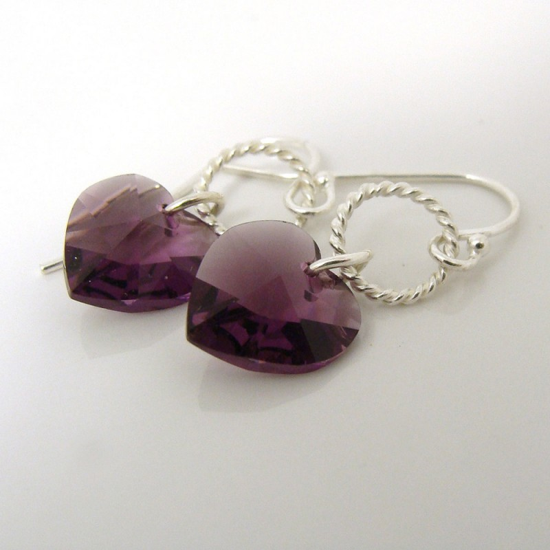 Amethyst swarovski heart earrings