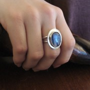 Kyanite  ring on woman's hand