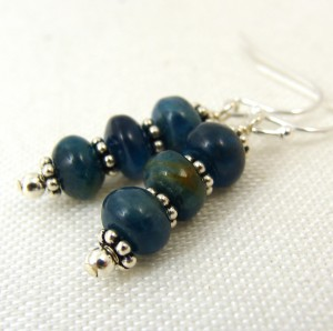 Blue apatite rondelle earrings