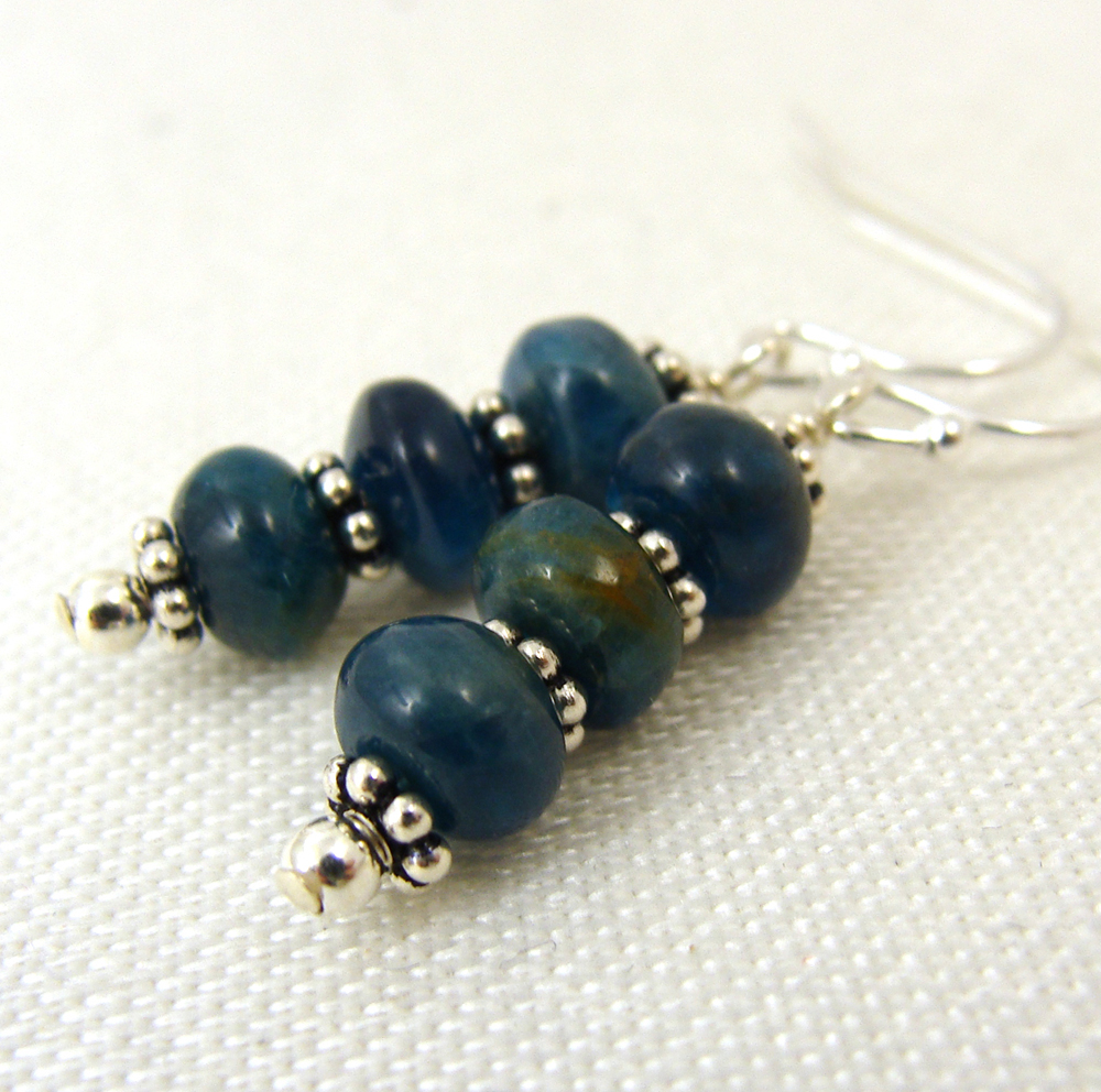 Blue apatite rondelle earrings
