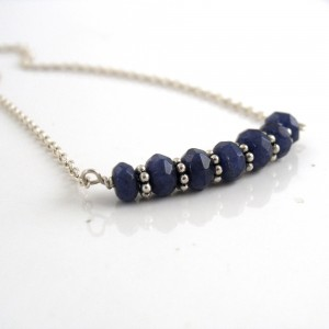 blue chalcedony rondelles necklace