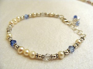 Diane's family birthstone bracelet - an example of 6 crystals