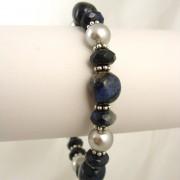 Dumortierite and pearls bracelet