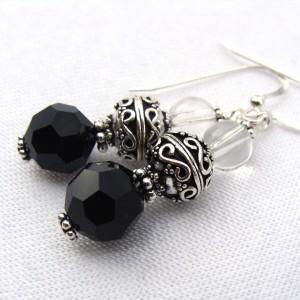 Bali Sterling silver and Swarovski crystal earrings
