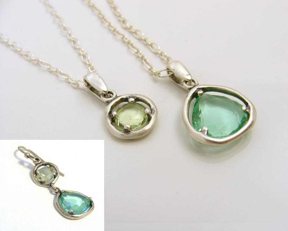 Peridot charm necklace