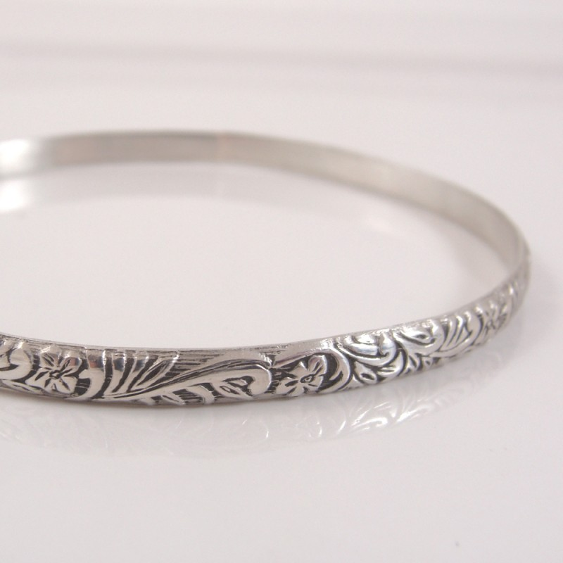 floral and fern sterling bangle
