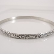floral and fern patterned sterling bangle