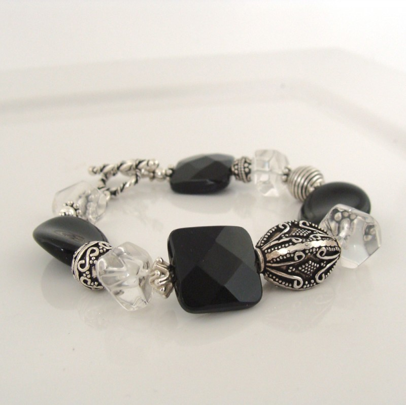 Bali silver and black bracelet