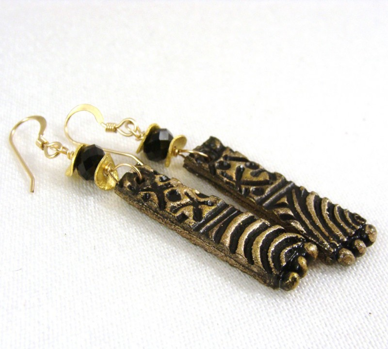 Bronze black and gold Swarovski pendant earrings