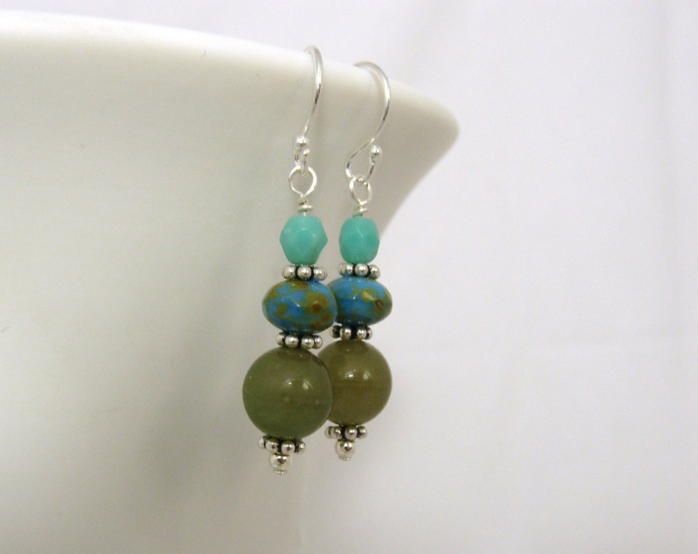 Turquoise and olive earrings