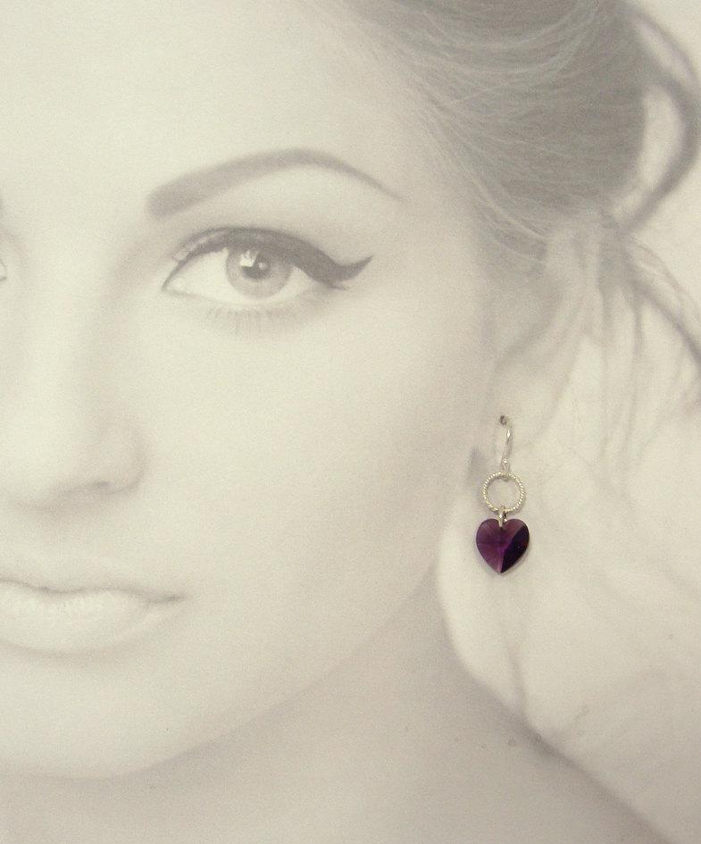 Amethyst swarovski heart earrings