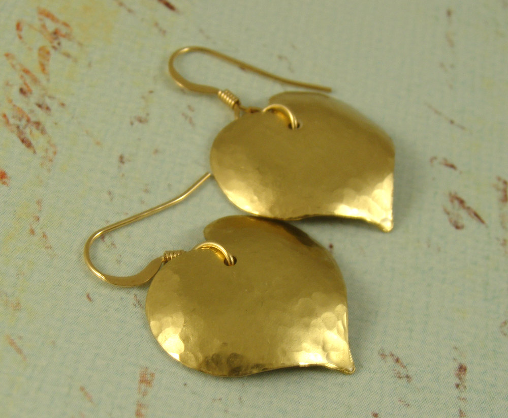 Hammered Heart brass earrings