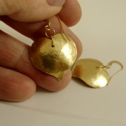 Hammered Heart brass earrings