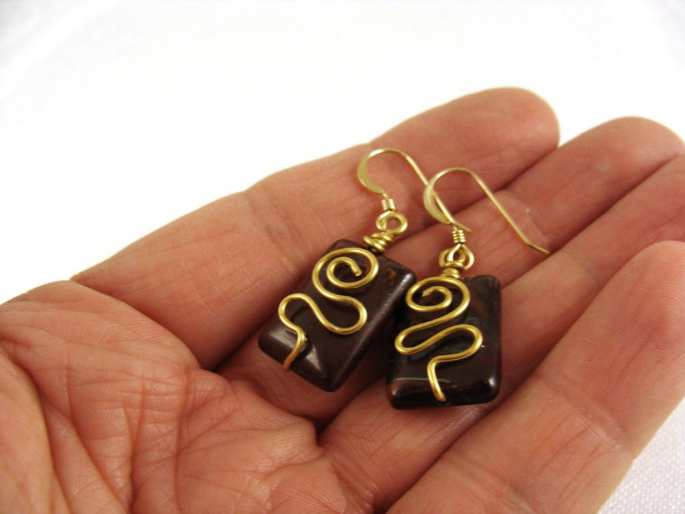 Tiger eye wrapped earrings