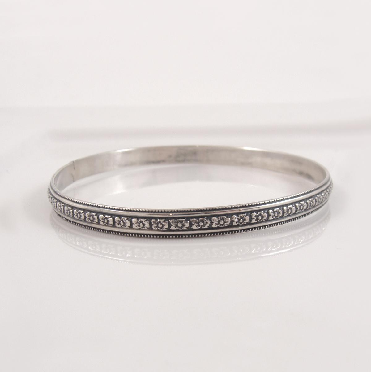 sterling silver floral bangle