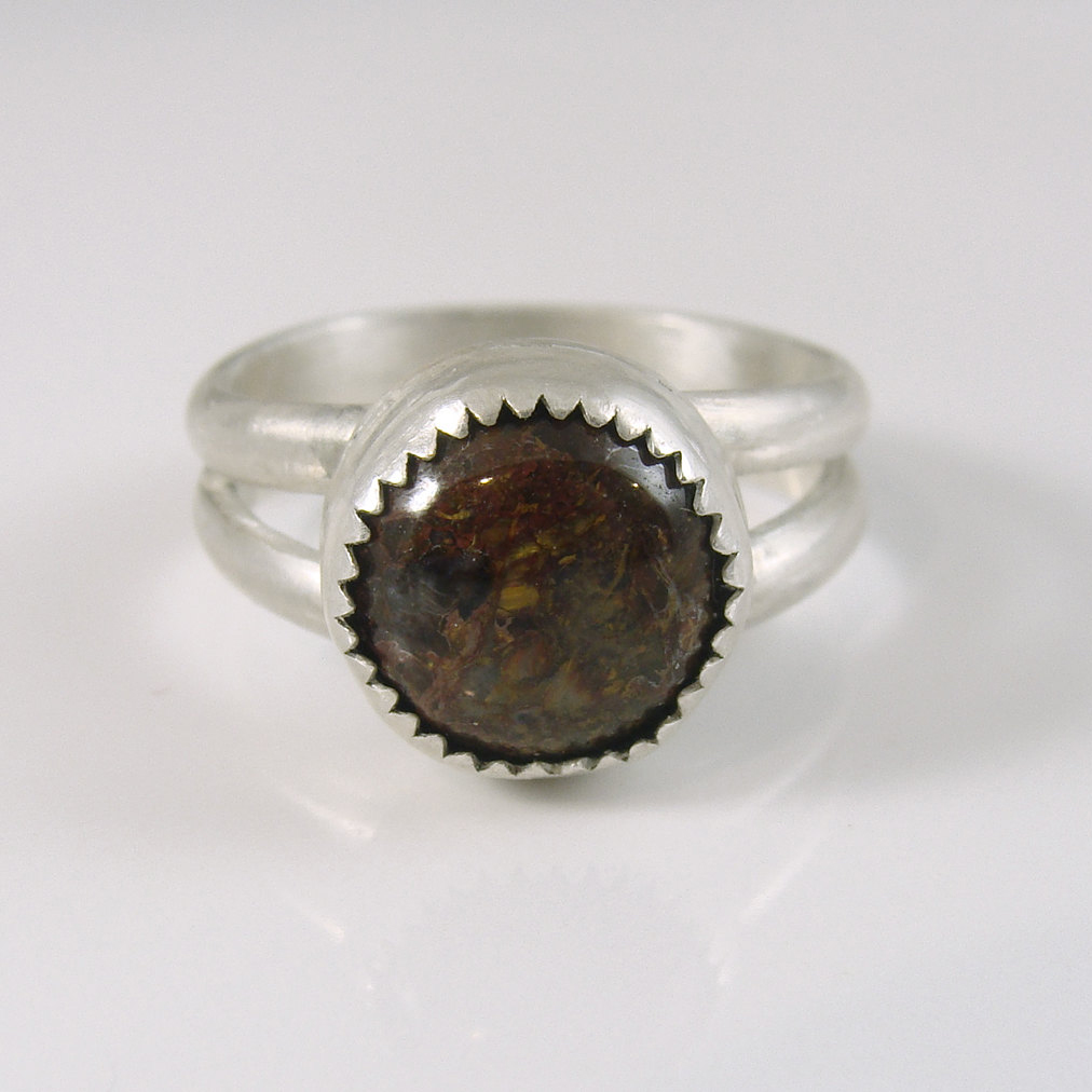Earthy brown Pietersite sterling silver ring