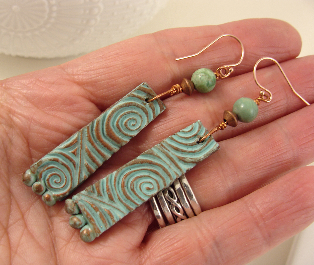 Textured turquoise patina earrings