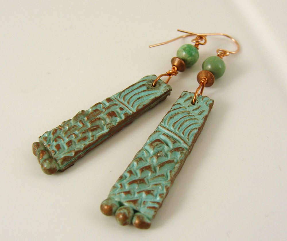 Textured turquoise patina earrings back view