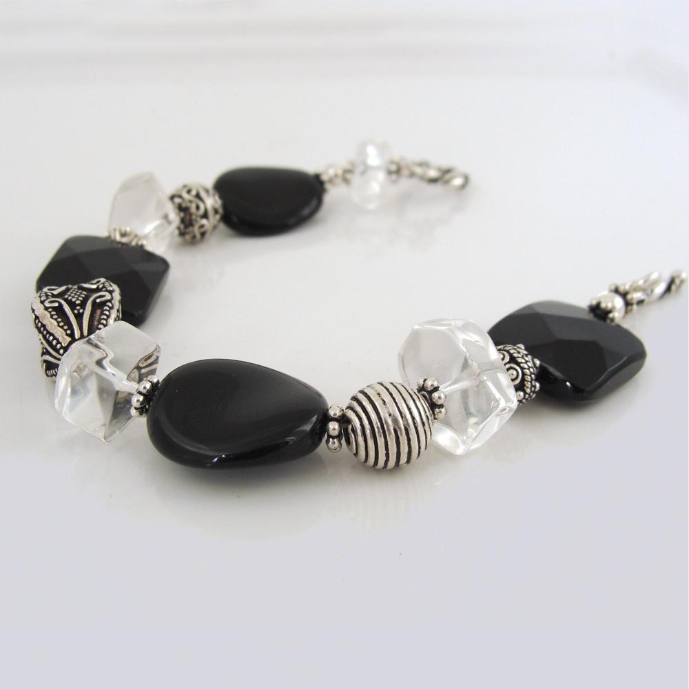 Bali silver and black bracelet