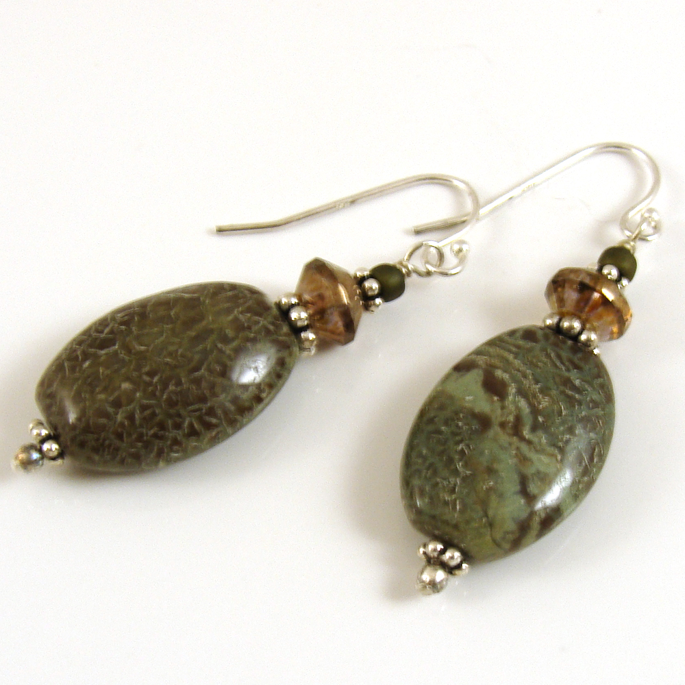 Snakeskin jasper earrings