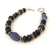 Dumortierite sterling silver bracelet