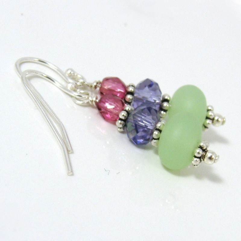 Summer sea glass earrings