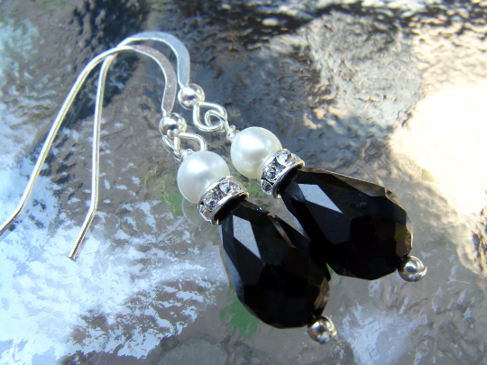 db10c819abc Pearl crystal earrings - black crystals with small white Swarovski pearls  on sterling silver wires
