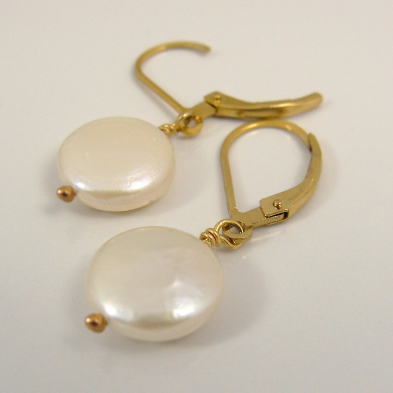 coin pearls on gold leverback earrings