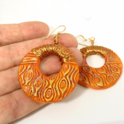 Orange and gold bold textured earrings