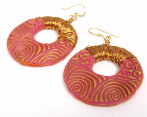 Pink and gold bold textured earrings