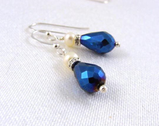 Pearl with royal blue teardrop earrings