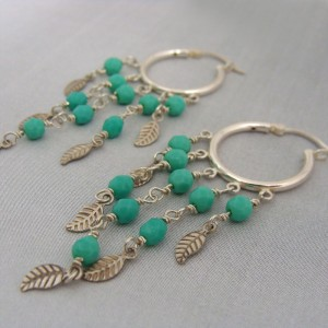 Sterling hoop earrings with leaves