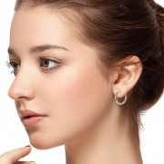 small hoop earrings on model